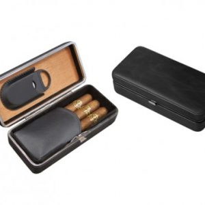 LEATHER 3 CIGAR FOLDING CASE