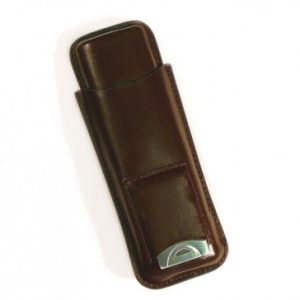 LEATHER 2 CIGAR CASE W/CUTTER